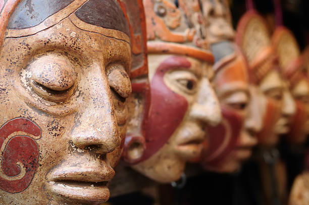 Guatemala,Mayan clay masks at the market - foto de stock