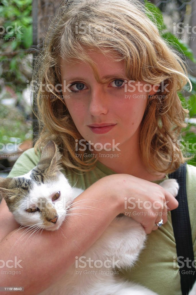Guatemalan cat  dad can I take him home stock photo