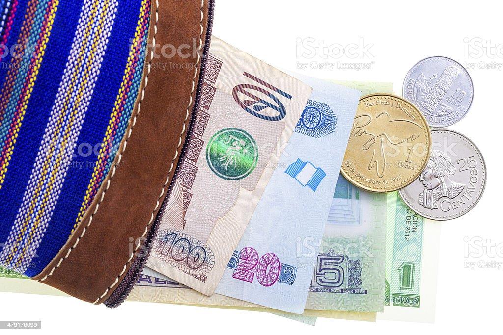 Guatemalan currency in purse foto