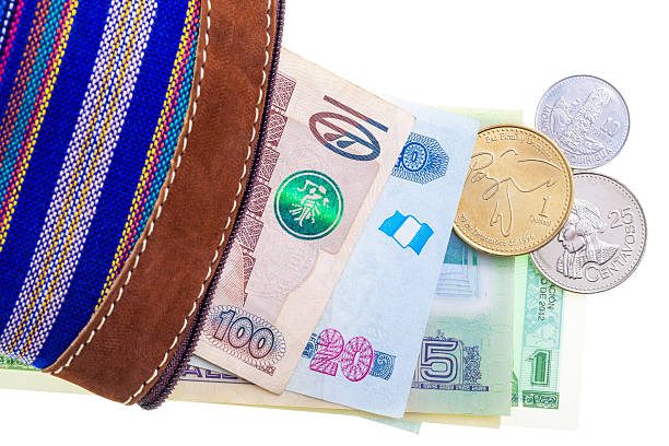 Guatemalan currency in purse​​​ foto