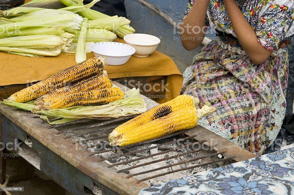 Guatemalan Elote (corn) stock photo
