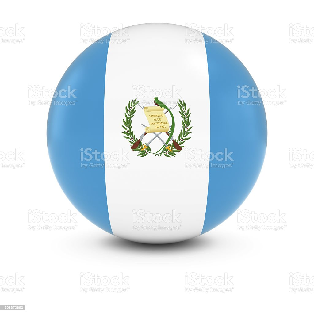 Guatemalan Flag Ball - Flag of Guatemala on Isolated Sphere stock photo
