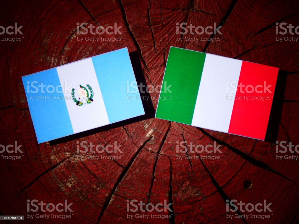 Guatemalan flag with Italian flag on a tree stump isolated stock photo