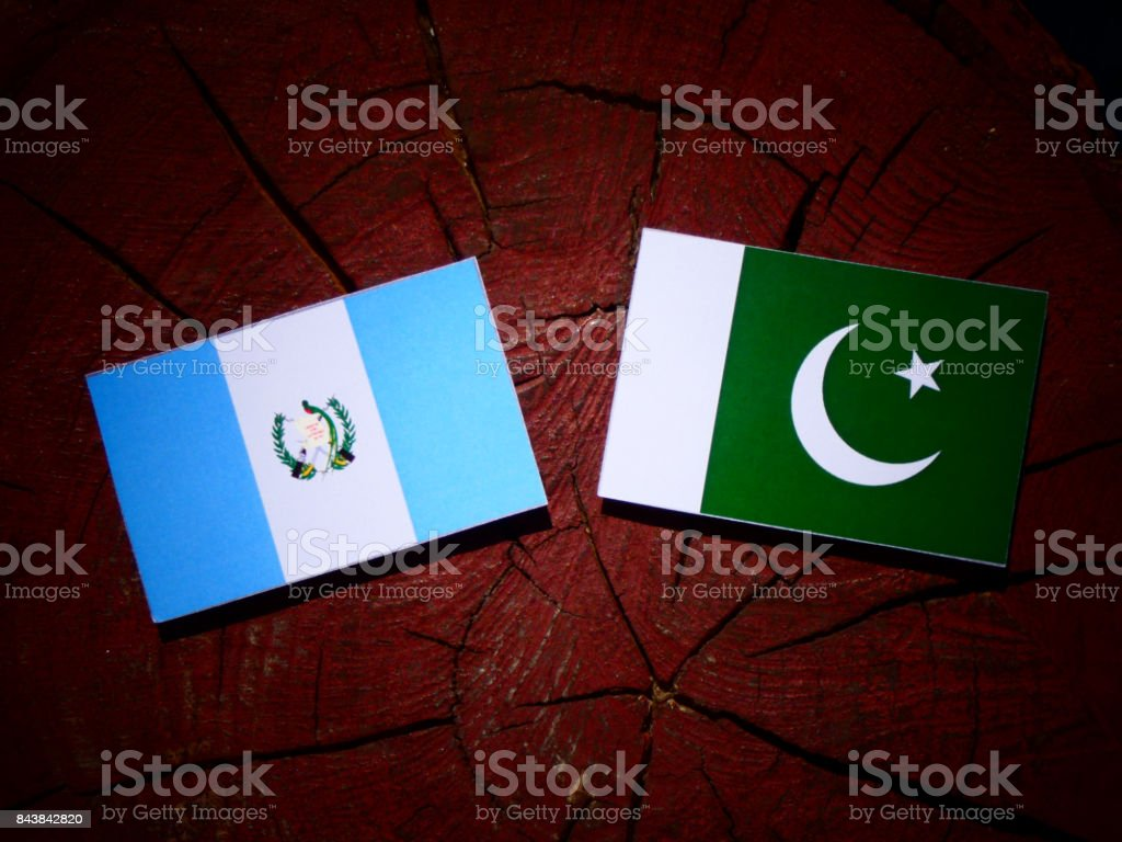 Guatemalan flag with Pakistan flag on a tree stump isolated stock photo