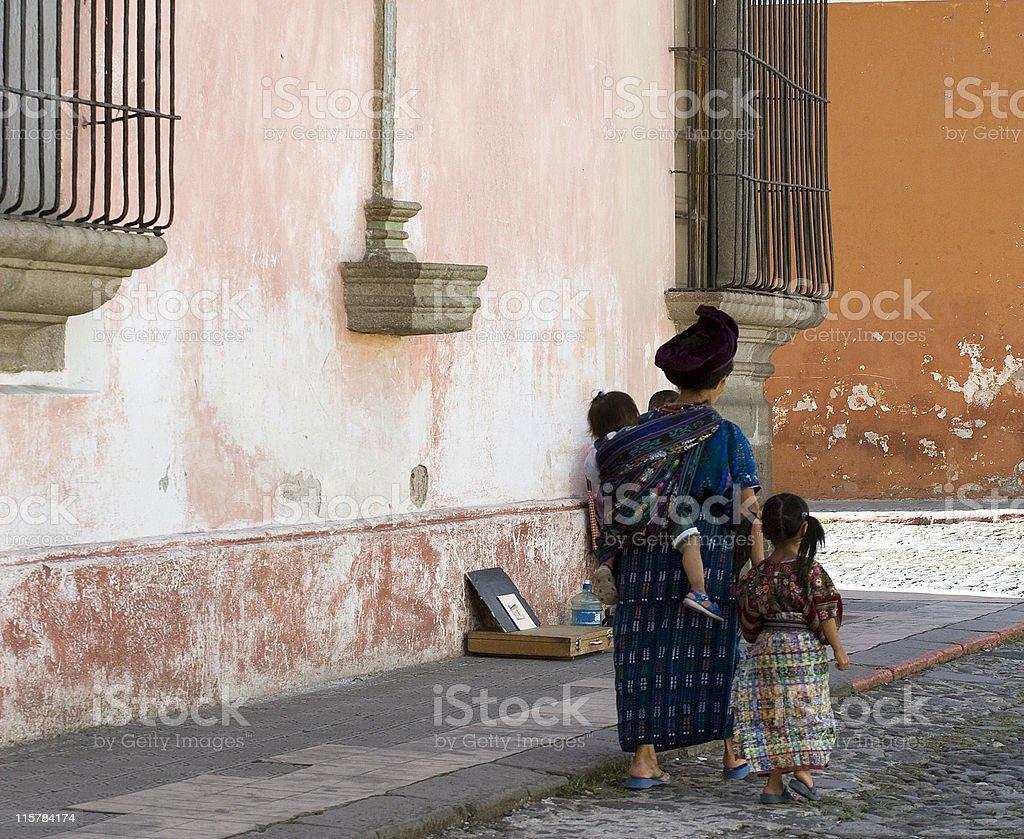 Guatemalan Mayan family stock photo