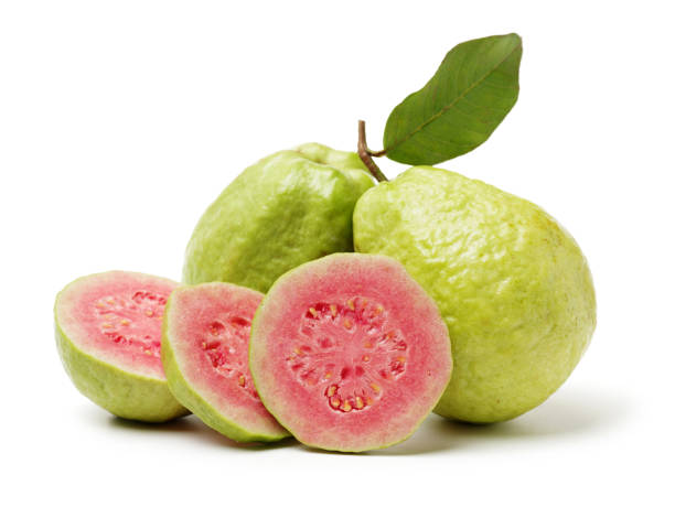 guava fruit on a white background guava fruit on a white background guava stock pictures, royalty-free photos & images
