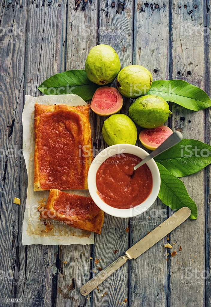 Guava puff pastry stock photo