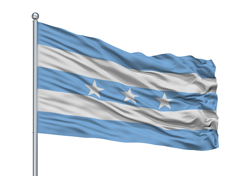 Guayaquil City Flag On Flagstaff, Country Ecuador, Isolated On White Background, 3D Rendering