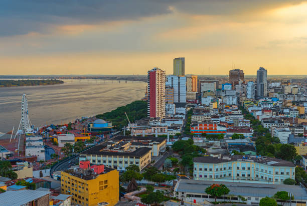 Guayaquil Cityscape Sunset, Ecuador stock photo