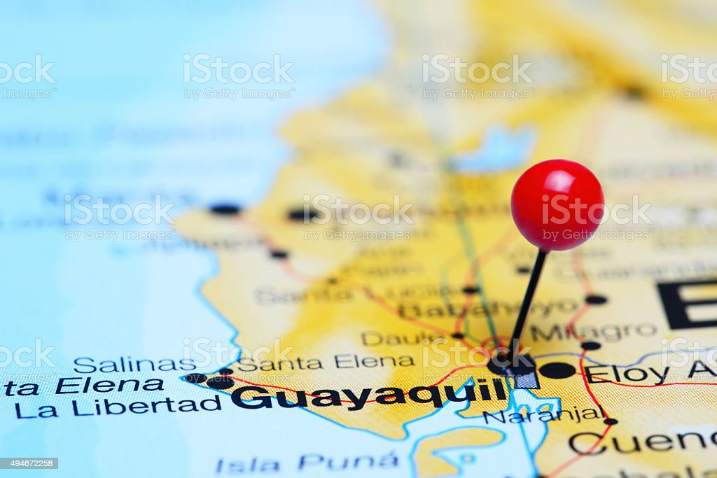 Guayaquil pinned on a map of America stock photo