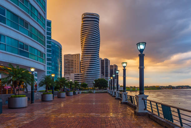 Guayaquil Waterfront and Cityscape, Ecuador stock photo