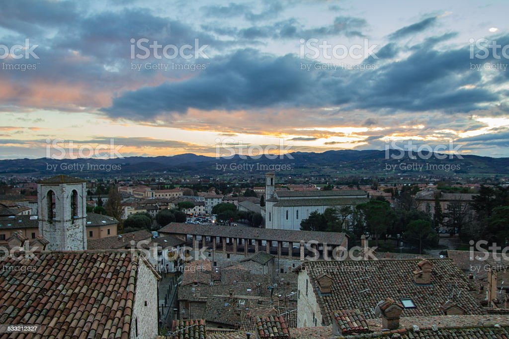 Gubbio at sunset stock photo
