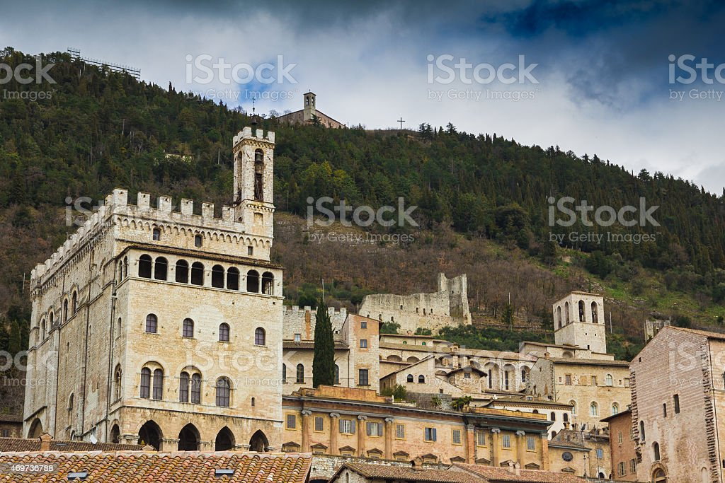 Gubbio cityscape, Umbria Italy stock photo