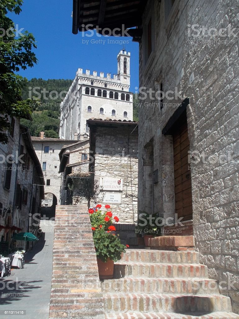 gubbio - little street in the old town stock photo