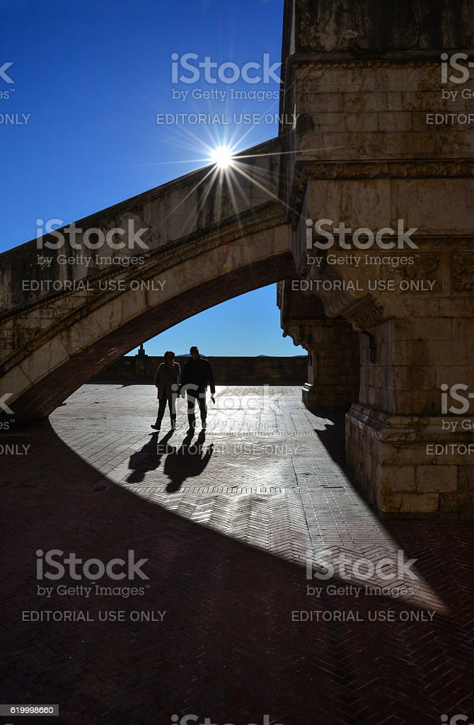Gubbio (Italy) - medieval town in Umbria Region stock photo