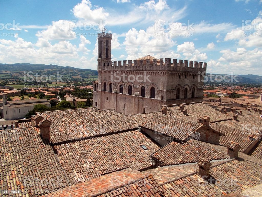 gubbio - panorama of the roof of town stock photo
