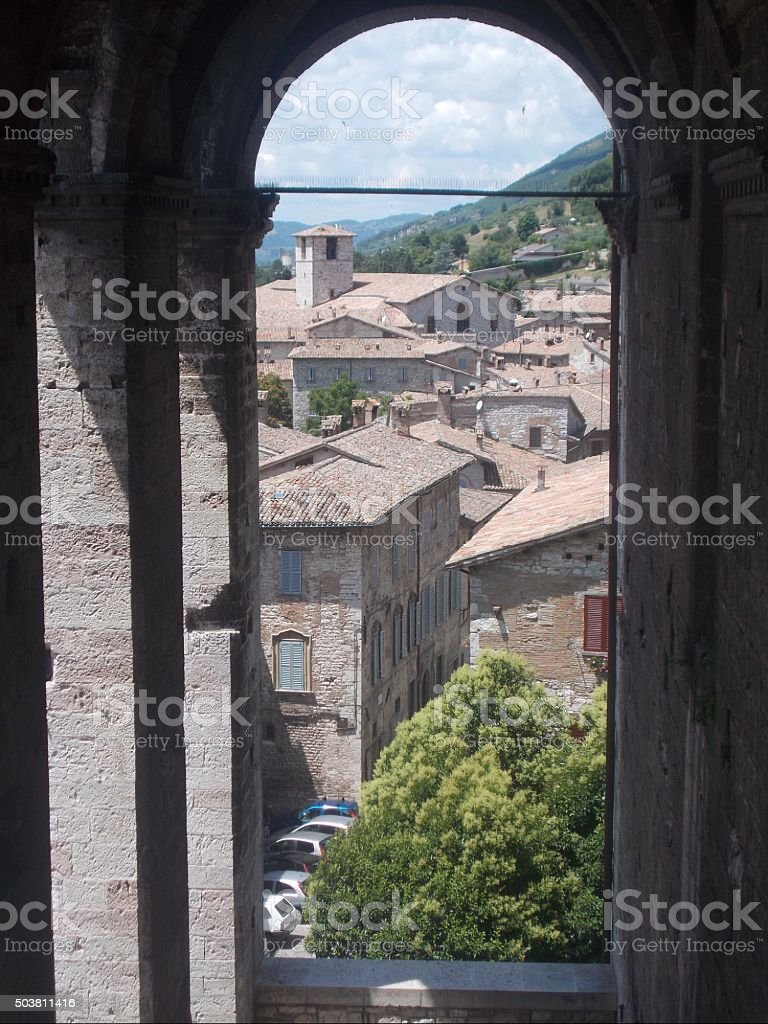 gubbio - panorama of town from a street stock photo
