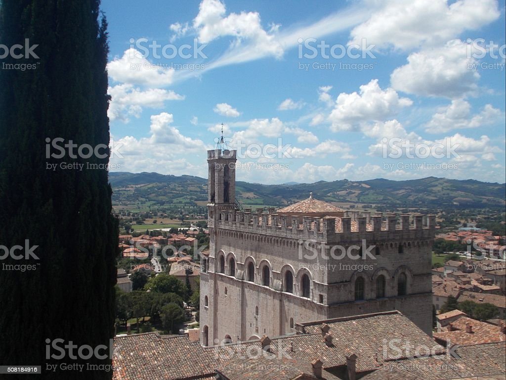 gubbio - panorama on town and town hall stock photo