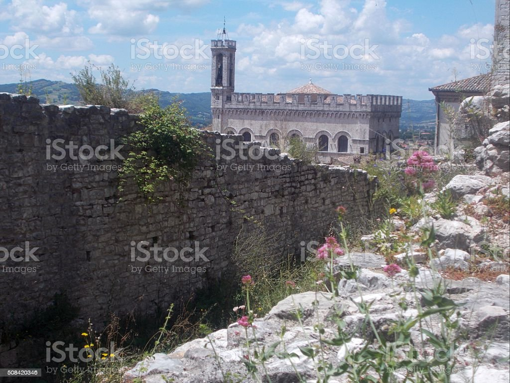 gubbio - panorama on town stock photo