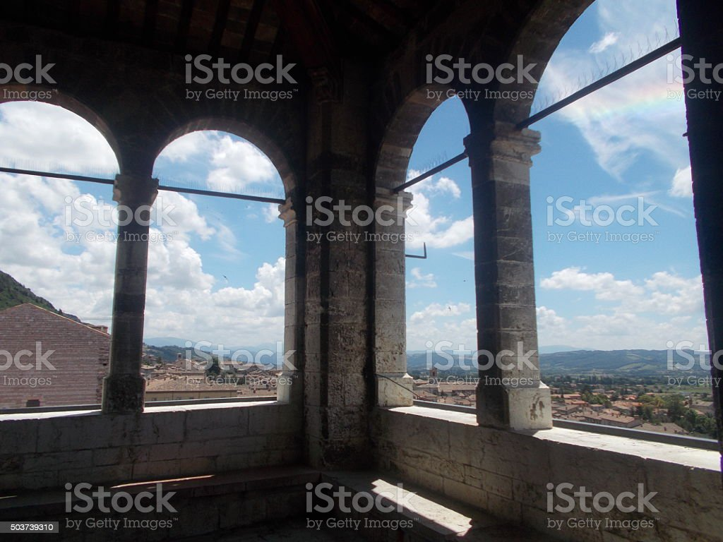 gubbio - view from palazzo dei consoli stock photo