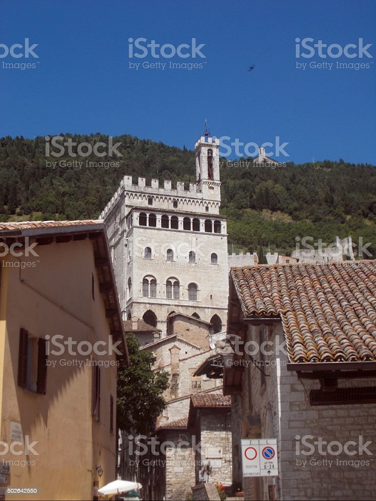 gubbio - view on the palazzo dei consoli ( town hall) stock photo