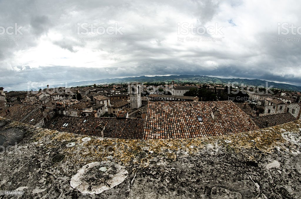 Gubbio's landscape from Piazza Grande stock photo