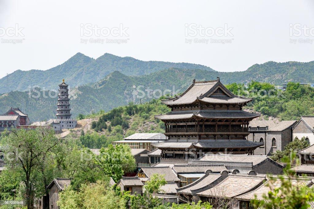 Gubei watertown in Simatai in Beijing in China, replica of ancient Chinese village stock photo
