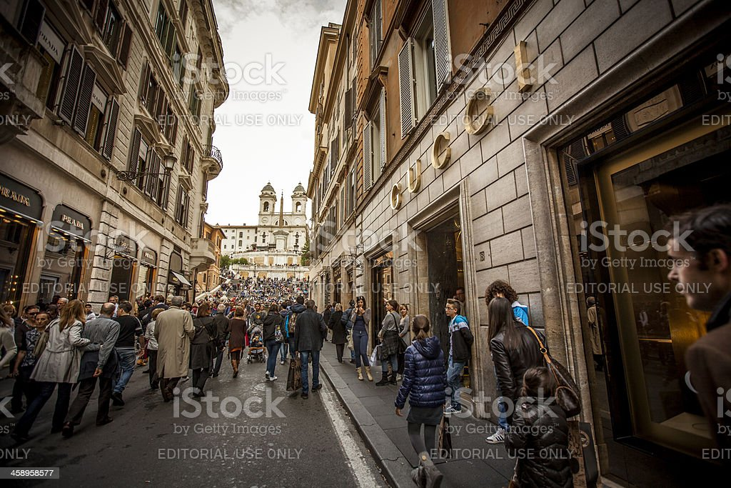 Gucci and Prada stores in Via dei Condotti, Rome royalty-free stock photo