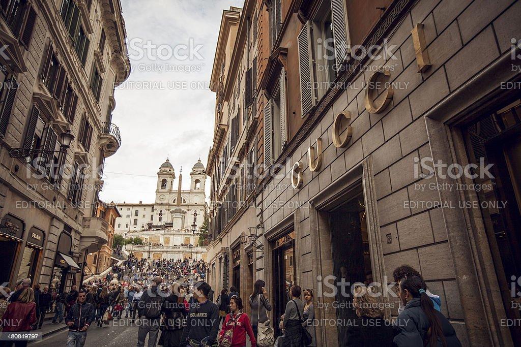 Gucci and Prada stores in Via dei Condotti, Rome stock photo