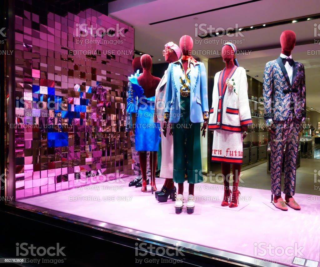 Gucci fashion store window display stock photo