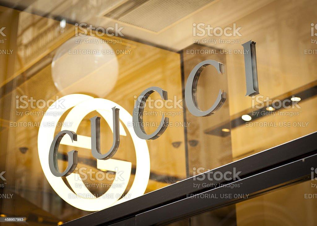 Gucci Logo On Shop Window stock photo