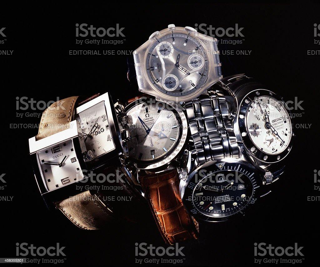 Gucci, Omega, Swatch, Seiko, Dolce & Gabbana luxury wristwatches stock photo