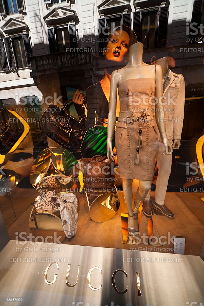 Gucci, shop window in Rome, Italy. stock photo