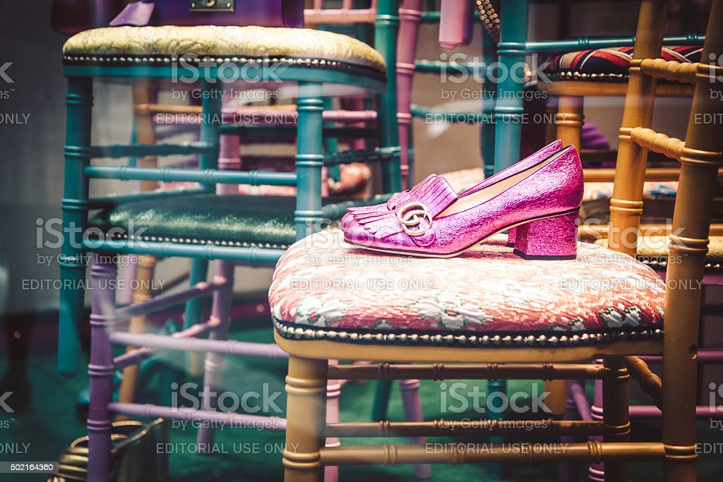 Gucci shop window in Via Napoleone stock photo