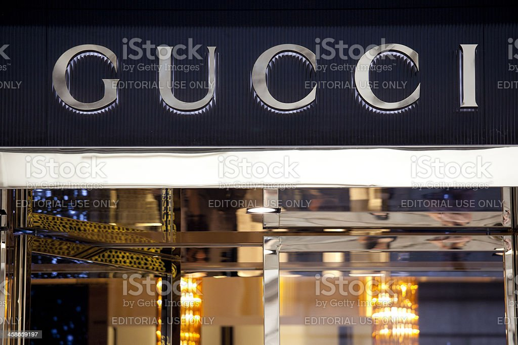 Gucci store sign stock photo