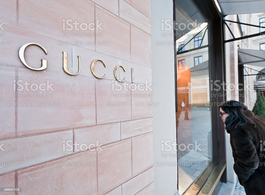 Gucci Window Shopping stock photo