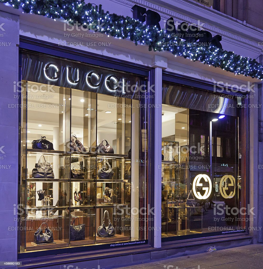 Gucci windows, Frasers department store, Glasgow, Scotland stock photo