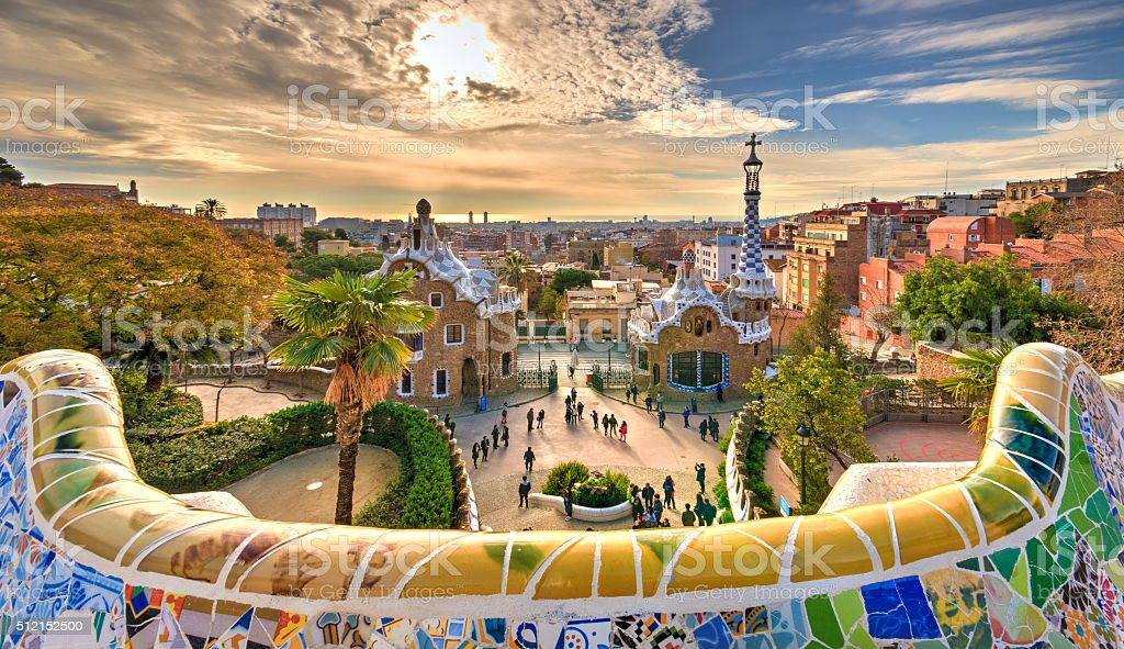 Guell Park in Barcelona A dream village in Barcelona designed by the architect Gaudi. Antoni Gaudí Stock Photo