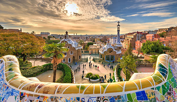 Guell Park in Barcelona A dream village in Barcelona designed by the architect Gaudi. barcelona spain stock pictures, royalty-free photos & images