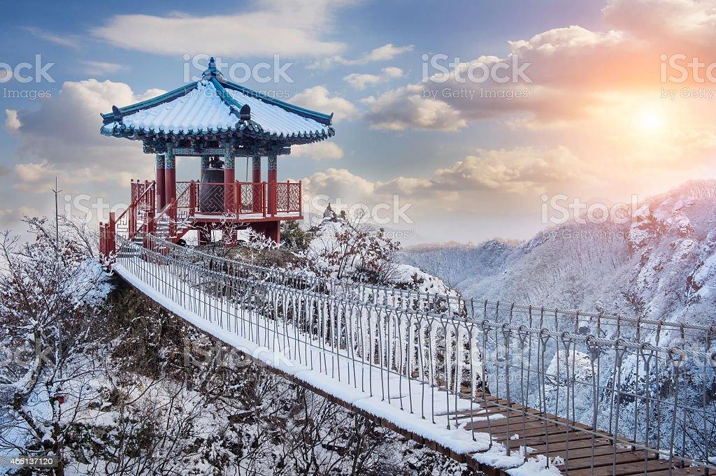 A guemosan snowy bridge at dawn stock photo