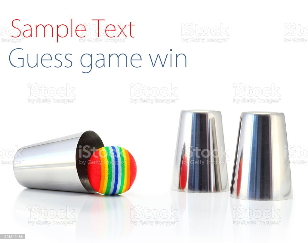 Guess game win thimbles stock photo
