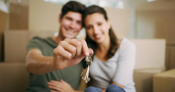 Guess who just bought their first house stock photo
