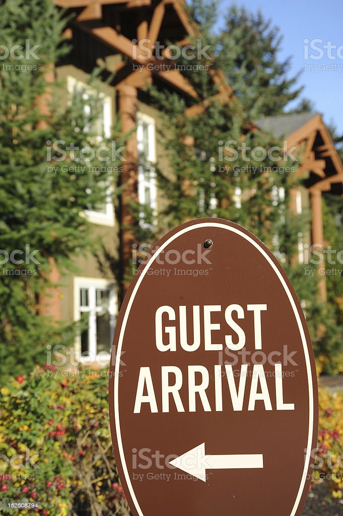 Guest arrival sign. royalty-free stock photo