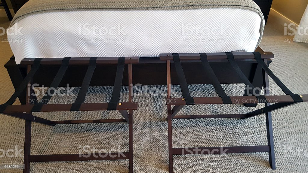 Guest Bedroom Luggage Racks At End Of Bed Stock Photo - Download Image Now