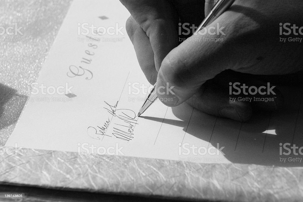 Guest Book Signing royalty-free stock photo