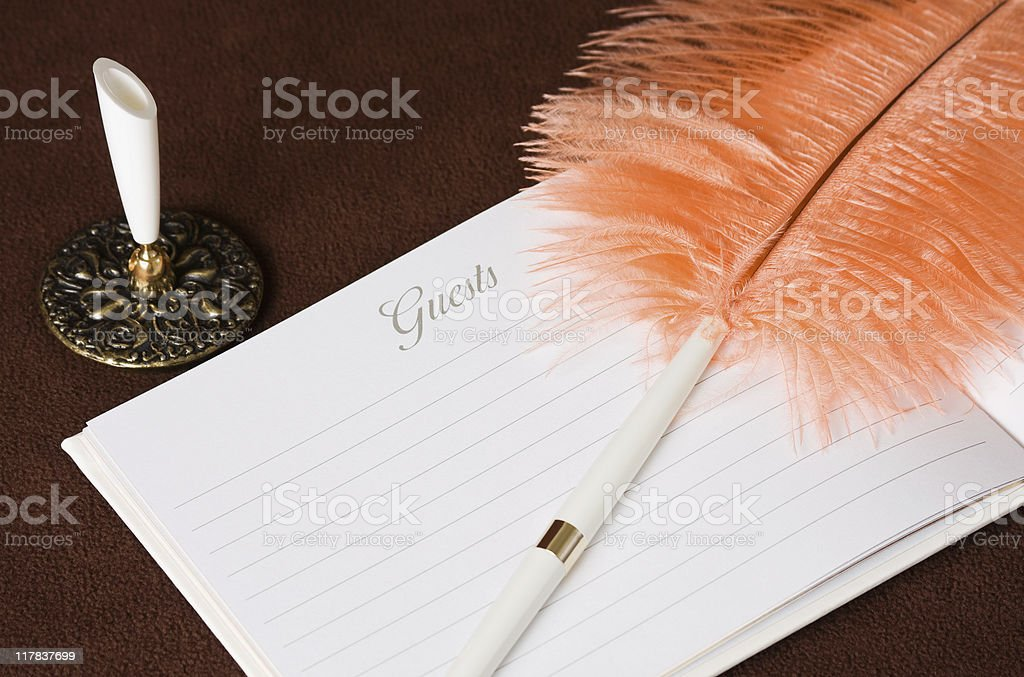 Guest Book with Plume Pen stock photo