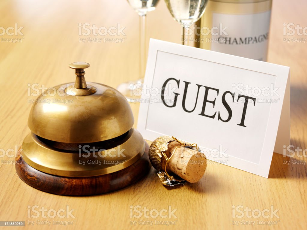 Guest Card by the Concierge Bell royalty-free stock photo
