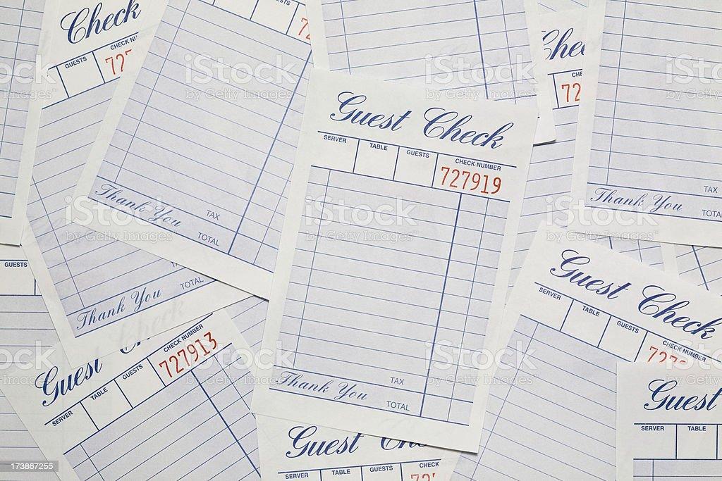 Guest Checks stock photo