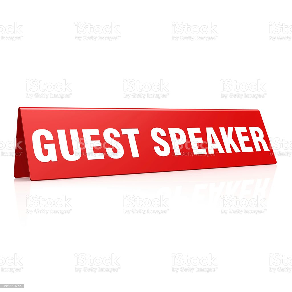 Guest speaker tag stock photo