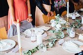 Scandinavian style wedding decorated tables